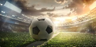 Sport. Soccer ball on stadium. Sport light background with dramatic sky. Soccer ball on stadium. Football poster royalty free illustration