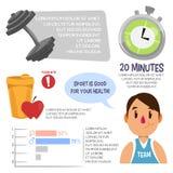 Sport som är infographic för män också vektor för coreldrawillustration Royaltyfri Fotografi