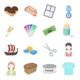 Sport, spettacolo, hobby e l'altra icona di web nello stile del fumetto prerogative, scatola, icone del foodball nella raccolta d illustrazione vettoriale