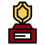 Sport-Spiel-goldener Herausforderungs-Preis Rotes Farbband Getrennt Olive Branch stock abbildung