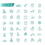 Sport, sports equipment, healthy lifestyle icons set Royalty Free Stock Image