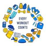 Sport, sprawność fizyczna, czynnościowego stażowego tła doodle granicy ramy bezszwowy wzór ilustracji