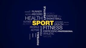 Sport sprawności fizycznej zdrowie stylu życia olimpiad maratonu treningu słowa stażowy działający futbolowy mistrzostwo animując ilustracji