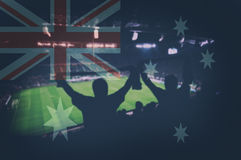 Sport stadium with fans and blending Australia flag Stock Images
