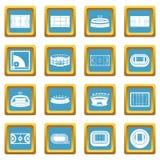 Sport stadium icons azure Stock Image