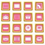 Sport stadium icons pink Stock Photo