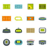 Sport stadium icons set, flat style royalty free illustration
