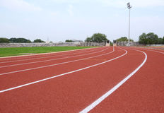 SPORT STADIUM WITH RUNNING TRACKS STRIP Royalty Free Stock Photos