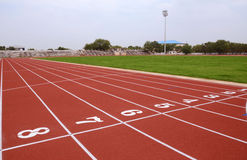 SPORT STADIUM WITH RUNNING TRACKS STRIP Stock Photography
