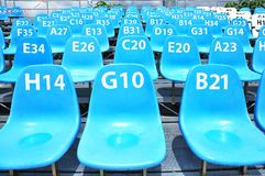 Sport stadium seat and number. Sport stadium blue seat and number Stock Photo