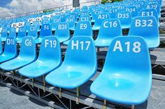 Sport stadium seat and number. Sport stadium blue seat and number Royalty Free Stock Photos