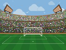 Sport stadium with soccer goal net, green grass, tribunes, fans and blue sky with cloud. Footbal arena. Flat style banner. Sport stadium with soccer goal net stock illustration