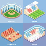 Sport stadium vector flat isometric icon set. Sport stadium vector isometric icon set. Baseball, Soccer, Basketball and Hockey concept design elements. Outdoor Royalty Free Stock Photo