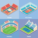 Sport stadium vector flat isometric icon set. Sport stadium vector isometric icon set. Boxing, Volleyball, Football and Tennis concepts. Outdoor sports venues Royalty Free Stock Photography