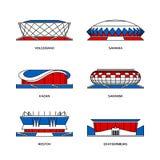 Sport stadiums in Russia 2018 stock illustration
