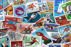 Sport on stamps Stock Photography