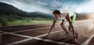 Sport. Starting runner. Sport background. Starting professional runner stock photo