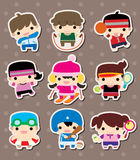 Sport stickers. Cute cartoon vector illusttration Royalty Free Stock Image