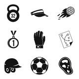 Sport stock icons set, simple style. Sport stock icons set. Simple set of 9 sport stock vector icons for web isolated on white background Royalty Free Stock Image