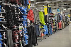 Sport store. Decathlon sport store shopping in St. Petersburg, Russia Royalty Free Stock Photography