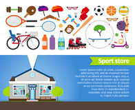 Sport store. Sports equipment and sports clothing Royalty Free Stock Photography