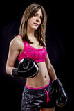 Sport, strong woman athlete with boxing gloves Stock Photos