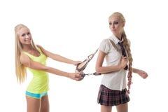 Sport of studie Mooie blonden die bij camera stellen Royalty-vrije Stock Fotografie