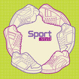 Sport style. Bacground with shoes Stock Photography
