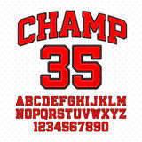 Sport style typeface. Tackle Twill style Champ typeface. Embroidered sports font. Letters and numbers stock illustration