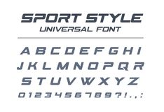 Sport style universal font. Fast speed, futuristic, technology, future alphabet. Letters and numbers for military, industrial, electric car racing logo design royalty free illustration