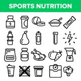 Sport Supplement Food Line Icon Set Vector. Nutrition Pictogram. Health Sport Supplement Food Symbol. Energy Vitamin. Diet. Thin Outline Illustration vector illustration