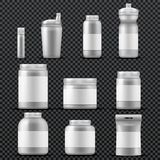Sport supplement plastic jar containers for drinks and powder. Vector templates isolated Royalty Free Stock Photos