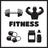 Sport supplements effects icons for fitness diet Stock Photo