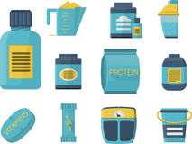 Sport supplements flat blue icons Royalty Free Stock Photos
