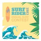 Sport surf typography, t-shirt graphics, vectors. Sport surf rider typography, t-shirt  retro graphics, vectors Royalty Free Stock Image