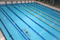 Sport swimming pool inside building. As background Stock Photos