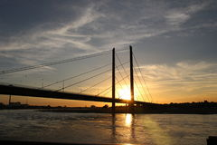 Sport swimming water. Sunset over the suspension bridge over the River Rhine in Dusseldorf, Germany Stock Images
