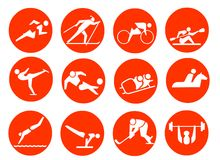 Sport Symbol Icons. 12 icons about sports. Running, skiing, kayaking, canoing, skating, soccer,football, skidding,horse-riding,swimming,gymnastics,hockey,weight Stock Image
