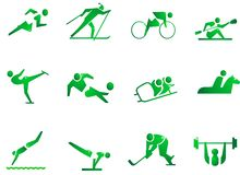 Sport Symbol Icons. 12 icons about sports. Running, skiing, kayaking, canoing, skating, soccer,football, skidding,horse-riding,swimming,gymnastics,hockey,weight Royalty Free Stock Image
