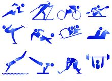 Sport Symbol Icons. 12 icons about sports. Running, skiing, kayaking, canoing, skating, soccer,football, skidding,horse-riding,swimming,gymnastics,hockey,weight Royalty Free Stock Images