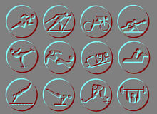 Sport Symbol Icons. NICE RELIEF ICONS ABOUT SPORTS12 icons about sports. Running, skiing, kayaking, canoing, skating, soccer,football, skidding,horse-riding Stock Photos