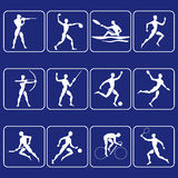 Sport symbols. Pictograms of twelve kinds of sports Stock Image