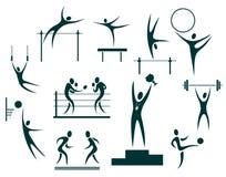 Sport symbols set. Stylized sportsmen  isolated on a white background Royalty Free Stock Photo
