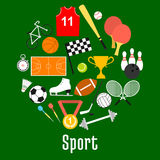 Sport symbols and sporting items round badge Royalty Free Stock Images