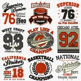 Sport t-shirt set. Sport Typography Graphics logo set, T-shirt Printing Design. Athletic original wear, Vintage Print for sportswear apparel royalty free illustration