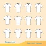Sport t-shirts illustration set for summer 2014 stock images