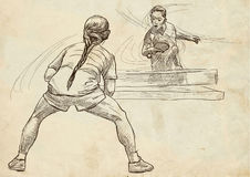 Sport, Table tennis, Ping-Pong. An hand drawn, line art, picture Royalty Free Stock Photo