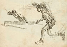 Sport, Table tennis, Ping-Pong. An hand drawn, line art, picture Royalty Free Stock Photography