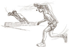 Sport, Table tennis, Ping-Pong. An hand drawn, line art, picture Stock Photography