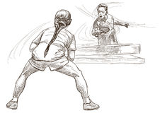 Sport, Table tennis, Ping-Pong. An hand drawn, line art, picture Royalty Free Stock Image